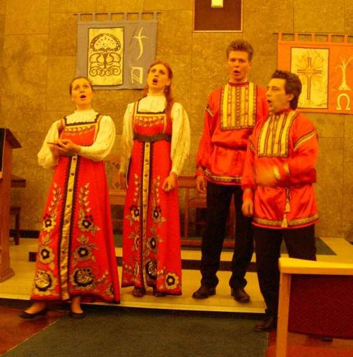 Singing Russian folk songs in traditional dress