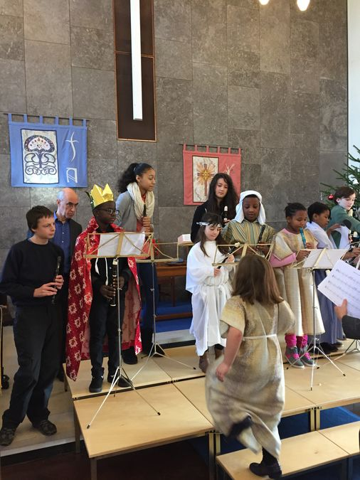 Recorder players prepare to play Away in a Manger