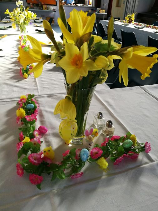 Tables decorated for Easter Breakfast