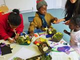 The children work on their Easter gardens