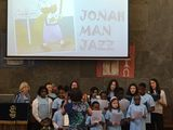 The choir and adult helpers singing Jonah-man Jazz